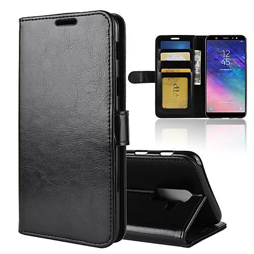 Кейс для Назначение SSamsung Galaxy A8 2018 / A6 (2018) Кошелек / Бумажник для карт / Флип Чехол Однотонный Твердый Кожа PU для A6 (2018) / A6 (2018) / A8 2018 фото
