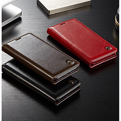 Кейс для Назначение Huawei P20 / P20 Pro Кошелек / Бумажник для карт / Флип Чехол Однотонный Твердый Настоящая кожа для Huawei P20 / Huawei P20 Pro / Huawei P9 Lite кейс для назначение huawei p20 p20 pro кошелек бумажник для карт флип чехол однотонный твердый кожа pu для huawei p20 huawei p20 pro huawei p20 lite