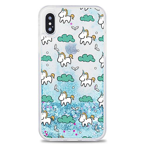 Case For Apple iPhone X / iPhone 8 Plus Flowing Liquid Back Cover Unicorn / Glitter Shine Hard PC for iPhone X / iPhone 8 Plus / iPhone 8