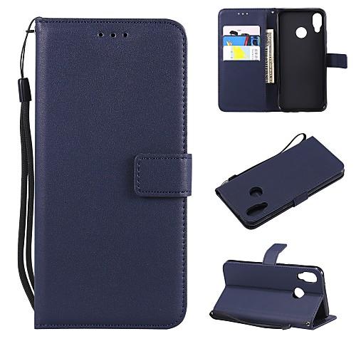 Кейс для Назначение Huawei P20 / P20 Pro Кошелек / Бумажник для карт / Флип Чехол Однотонный Твердый Кожа PU для Huawei P20 / Huawei P20 Pro / Huawei P20 lite смартфон huawei p20 lite