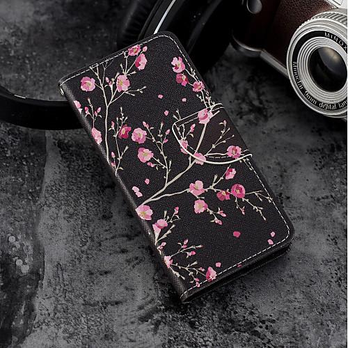 Кейс для Назначение SSamsung Galaxy S9 Plus / S9 Кошелек / Бумажник для карт / со стендом Чехол Цветы Твердый Кожа PU для S9 / S9 Plus / S8 Plus фото