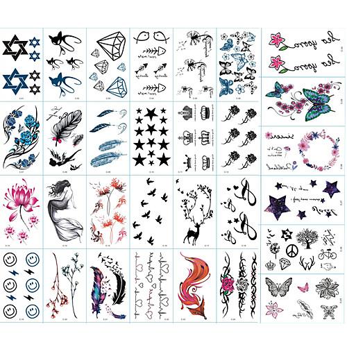 30 pcs Стикер Тату с животными / Тату с цветами / Тату с тотемом Временные тату тату рукава tattoo sleeve тату рукав