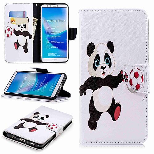 Кейс для Назначение Huawei Y9 (2018)(Enjoy 8 Plus) Кошелек / Бумажник для карт / со стендом Чехол Панда Твердый Кожа PU для Huawei Y7(Nova Lite) / Huawei Y6 (2018) / Huawei Y6 (2017)(Nova Young) чехол для сотового телефона huawei nova lite translucent black 51992091