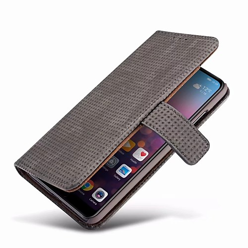 Кейс для Назначение Huawei P20 / P20 Pro Кошелек / Бумажник для карт / со стендом Чехол Однотонный Твердый Настоящая кожа для Huawei P20 / Huawei P20 Pro / Huawei P20 lite кейс для назначение huawei p20 pro p20 бумажник для карт мешочек однотонный мягкий настоящая кожа для huawei p20 lite huawei p20 pro