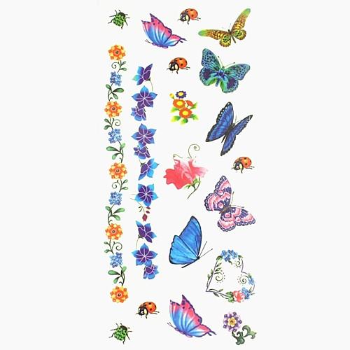 С рисунком / Стикер татуировки руки / рука / запястье Временные татуировки 1 pcs Тату с животными / Тату с цветами Искусство тела временные татуировки мнетату золотое временное тату сова