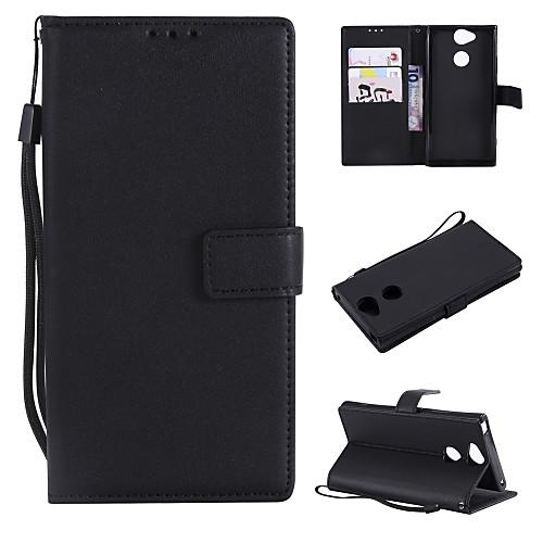 Кейс для Назначение Sony Xperia L2 / Xperia L1 Кошелек / Бумажник для карт / Флип Чехол Однотонный Твердый Кожа PU для Xperia XZ1 Compact / Sony Xperia XZ1 / Sony Xperia XZ все цены