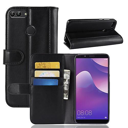 Кейс для Назначение Huawei Y9 (2018)(Enjoy 8 Plus) / Y7 Prime (2018) Кошелек / Бумажник для карт / со стендом Чехол Однотонный Твердый Настоящая кожа для Y9 (2018)(Enjoy 8 Plus) / Huawei Y7 смартфоны huawei y5 2017 grey