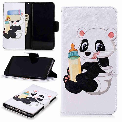 Кейс для Назначение Huawei P9 lite mini  P smart Кошелек  Бумажник для карт  со стендом Чехол Панда Твердый Кожа PU для Huawei P20  Huawei P20 Pro  Huawei P20 lite