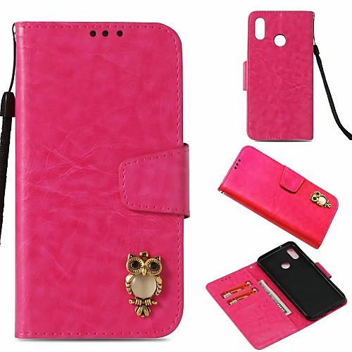 Кейс для Назначение Huawei P20 lite Кошелек  Бумажник для карт  со стендом Чехол Сова Твердый Кожа PU для Huawei P20 lite