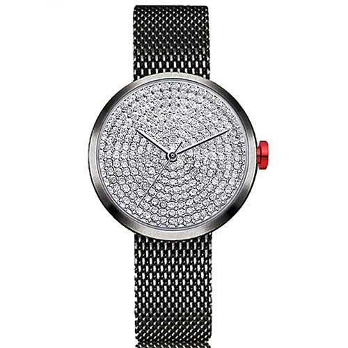 Жен. Наручные часы Китайский Секундомер / Милый / Имитация Алмазный Нержавеющая сталь Группа Кольцеобразный / минималист Черный /