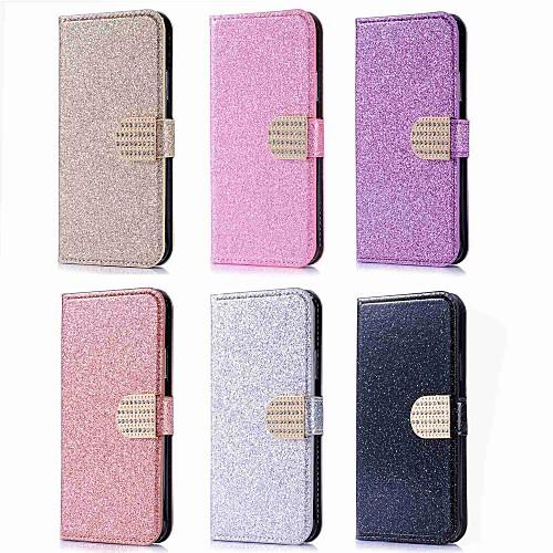 Кейс для Назначение Huawei P20 Pro  P20 lite Бумажник для карт  Стразы  со стендом Чехол Сияние и блеск Твердый Кожа PU для Huawei P20