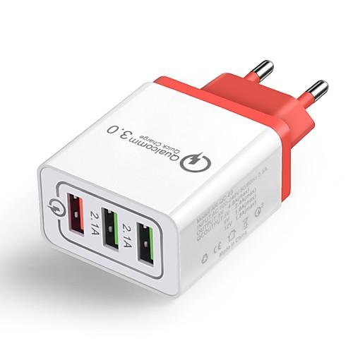 Зарядное устройство для дома / Портативное зарядное устройство Зарядное устройство USB Евро стандарт QC 3.0 3 USB порта 4.8 A 100~240 V для Универсальный фото
