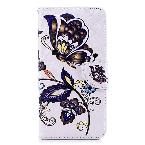 Кейс для Назначение SSamsung Galaxy A8 Plus 2018 / A6 (2018) Кошелек / Бумажник для карт / со стендом Чехол Бабочка Твердый Кожа PU для A5(2018) / A6 (2018) / A6 (2018)