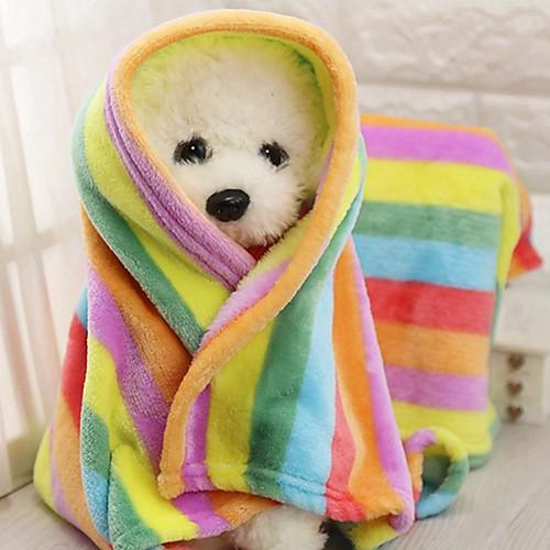 Компактность / Мини / Сохраняет тепло Одежда для собак Кровати / Полотенца Контрастных цветов / Пэчворк Радужный Грызуны / Собаки / Кролики грызуны