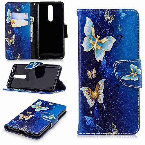 Кейс для Назначение Nokia Nokia 5.1 / Nokia 3.1 Кошелек / Бумажник для карт / со стендом Чехол Бабочка Твердый Кожа PU для Nokia 8 / Nokia 6 2018 / Nokia 2.1 nokia 5