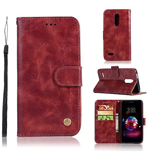 Кейс для Назначение LG Q8 / LG Q7 Кошелек / Бумажник для карт / со стендом Чехол Однотонный Твердый Кожа PU для LG X Style / LG X Power / LG V30 фото