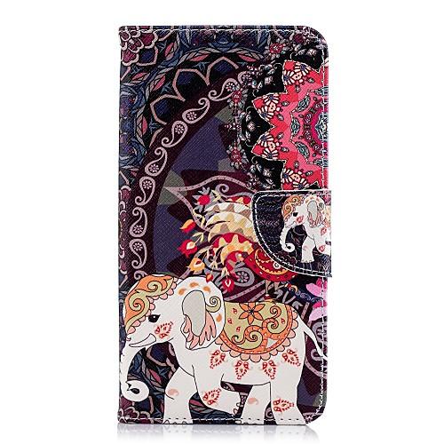 Кейс для Назначение Huawei P20 Pro / P20 lite Кошелек / Бумажник для карт / со стендом Чехол Слон Твердый Кожа PU для Huawei P20 / Huawei P20 Pro / Huawei P20 lite кейс для назначение huawei p20 p20 pro кошелек бумажник для карт флип чехол однотонный твердый кожа pu для huawei p20 huawei p20 pro huawei p20 lite