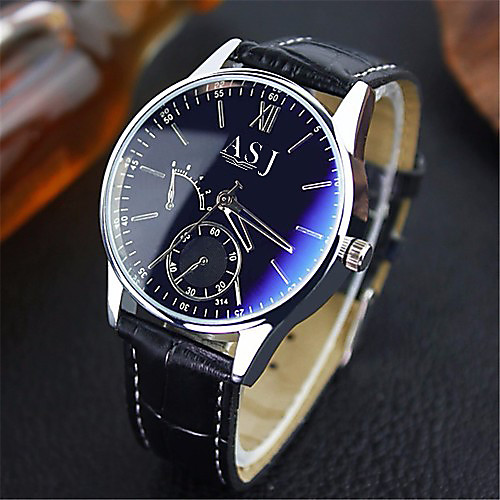 ASJ Men's Dress Watch Wrist Watch Quartz Watches Leather Brown Water Resistant / Waterproof Analog Classic Casual - Blue Black Black / White One Year Battery Life / SSUO SR626SW