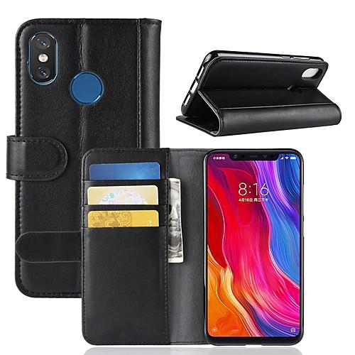 Кейс для Назначение Xiaomi Mi 8 / Mi 8 SE Кошелек / Бумажник для карт / со стендом Чехол Однотонный Твердый Настоящая кожа для Xiaomi Redmi Note 5 Pro / Xiaomi Redmi Примечание 5 / Xiaomi Redmi Note xiaomi