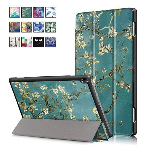 Кейс для Назначение Lenovo Tab 4 10 Plus / Tab 4 10 со стендом / Магнитный Чехол Масляный рисунок Твердый Кожа PU для Lenovo Tab 4 10 Plus / Lenovo Tab 4 10