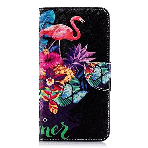 Кейс для Назначение Huawei P20 Pro / P20 lite Кошелек / Бумажник для карт / со стендом Чехол Фламинго Твердый Кожа PU для Huawei P20 / Huawei P20 Pro / Huawei P20 lite кейс для назначение huawei p20 pro p20 бумажник для карт мешочек однотонный мягкий настоящая кожа для huawei p20 lite huawei p20 pro