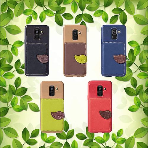 Кейс для Назначение SSamsung Galaxy A8 Plus 2018 / A8 2018 Кошелек / Бумажник для карт / со стендом Кейс на заднюю панель Однотонный Мягкий ТПУ для A5(2018) / A7 (2017) / A8 2018 blackview a8 смартфон