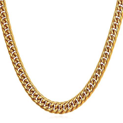 Муж. Толстая цепь Ожерелья-цепочки - Нержавеющая сталь модный, Мода Золотой, Черный, Серебряный 55 cm Ожерелье 1шт Назначение Подарок, Повседневные