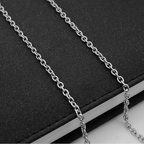 Муж. Одинарная цепочка Ожерелья-цепочки - Титановая сталь европейский Серебряный 55 cm Ожерелье 1шт Назначение Повседневные жен мотаться уникальный дизайн в виде подвески кулон серебряный одинарная цепочка перо серьги назначение повседневные