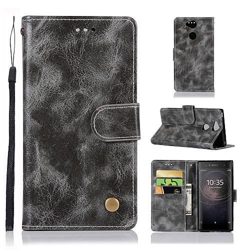 Кейс для Назначение Sony Xperia XZ2 / Xperia XA Кошелек / Бумажник для карт / со стендом Чехол Однотонный Твердый Кожа PU для Sony Xperia XZ2 Premium / Xperia XZ2 Compact / Xperia XZ2 наушник sony sbh54 золотой