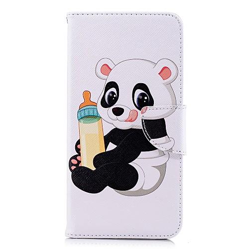 Кейс для Назначение SSamsung Galaxy A8 Plus 2018 / A6 (2018) Кошелек / Бумажник для карт / со стендом Чехол Панда Твердый Кожа PU для A5(2018) / A6 (2018) / A6 (2018)