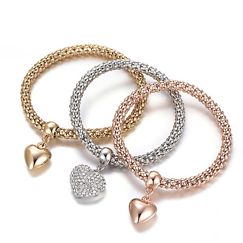 Women's Layered Stack Stacking Stackable Charm Bracelet Bracelet Bangles Rhinestone Imitation Diamond Heart Love Ladies Luxury European Simple Style Fashion Bracelet Jewelry Rainbow For Gift Daily