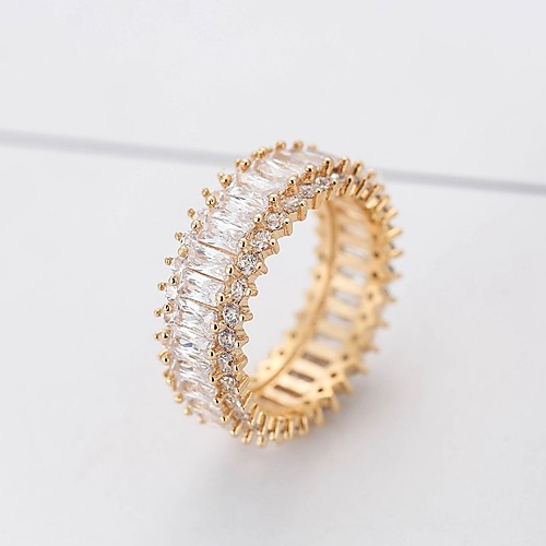 Women's Synthetic Diamond Lasso Ring thumb ring Copper Ladies Stylish Classic Bling Bling Italian everyday Ring Jewelry Gold / Silver For Daily 6 / 7 / 8 / 9