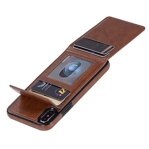 Кейс для Назначение Apple iPhone X / iPhone 8 / iPhone XS Кошелек / Бумажник для карт / Флип Чехол Однотонный Твердый Кожа PU для iPhone XS / iPhone XR / iPhone XS Max