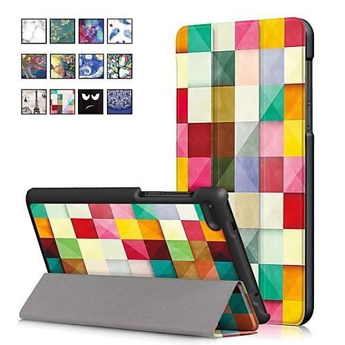 Кейс для Назначение Lenovo Tab 7 Essential со стендом / Магнитный Чехол Масляный рисунок Твердый Кожа PU для Lenovo Tab 4 7 Essential