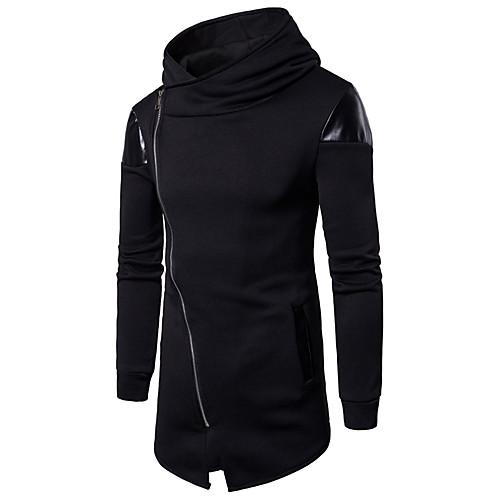 Men's Active / Basic Long Sleeve Long Sweatshirt - Color Block Stand Black L / Fall