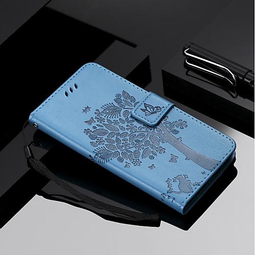 Кейс для Назначение Xiaomi Mi 7 / Mi 8 Кошелек / Бумажник для карт / со стендом Чехол Кот / дерево Твердый Кожа PU для Redmi Note 5A / Xiaomi Redmi Note 4X / Xiaomi Redmi Note 3