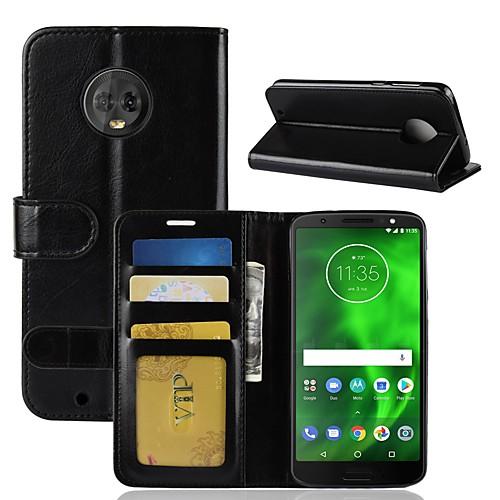 Кейс для Назначение Motorola MOTO G6 / Moto G6 Play Кошелек / Бумажник для карт / Флип Чехол Однотонный Твердый Кожа PU для Moto X4 / MOTO G6 / Moto G6 Play фото