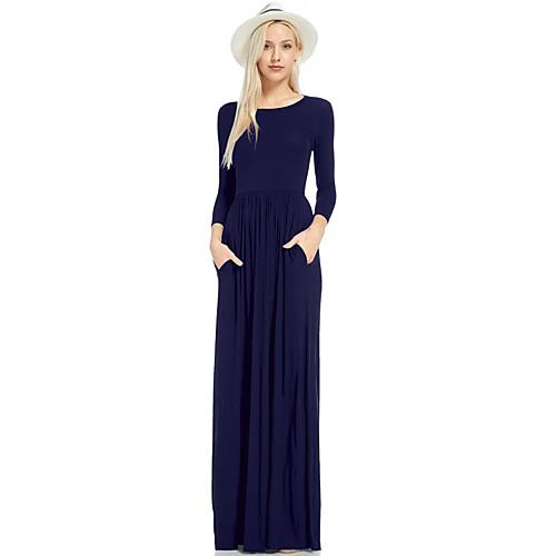 Жен. Классический Платье - Однотонный Макси фото