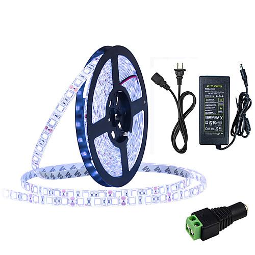 HKV 5 метров Гибкие светодиодные ленты 300 светодиоды 5050 SMD 1 адаптер питания X 5A Тёплый белый / Холодный белый / Синий Можно резать / Компонуемый / Самоклеющиеся 100-240 V цена