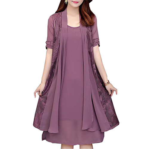 Women\'s Plus Size Daily Loose Two Piece Dress - Solid ...