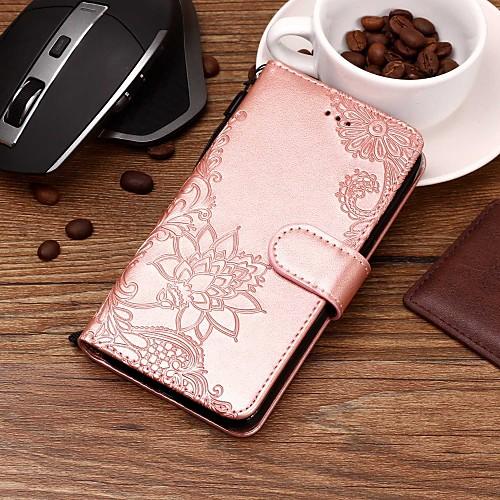 Кейс для Назначение Huawei Honor 7A / Honor 7C(Enjoy 8) Кошелек / Бумажник для карт / со стендом Чехол Цветы Твердый Кожа PU для Honor 9 / Huawei Honor 9 Lite / Honor 8 фото