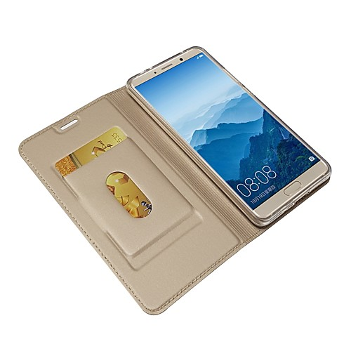 Кейс для Назначение Huawei Mate 10 pro / Mate 10 Кошелек / Бумажник для карт / со стендом Чехол Однотонный Твердый Кожа PU для Mate 10 / Mate 10 pro / Mate 10 lite штатив i mate selfiepod 23186