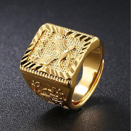 Муж. Стильные С гравировкой Кольцо с печаткой Золото 18K Eagle азиатский Мода Модные кольца Бижутерия Золотой Назначение Повседневные Для вечеринок Регулируется фото