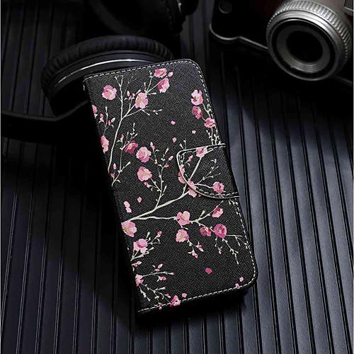 Кейс для Назначение Huawei Y6 (2018) / Y6 (2017)(Nova Young) Кошелек / Бумажник для карт / со стендом Чехол Цветы Твердый Кожа PU для Huawei Y6 (2018) / Huawei Y6 (2017)(Nova Young) / Huawei Y5 (2018) фото