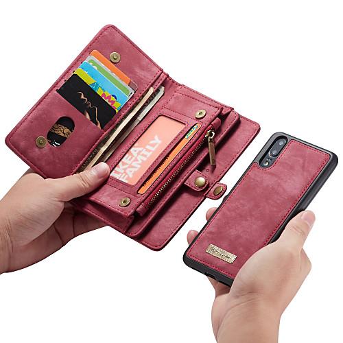 CaseMe Кейс для Назначение Huawei P20 Pro / P20 lite Кошелек / Бумажник для карт / Флип Чехол Однотонный Твердый Кожа PU для Huawei P20 / Huawei P20 Pro / Huawei P20 lite фото