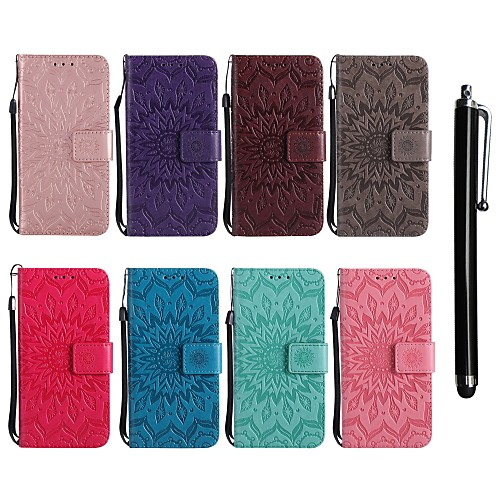 Кейс для Назначение LG G6 / G3 Кошелек / Бумажник для карт / со стендом Чехол Цветы Твердый Кожа PU для LG Leon / LG C40 H340N / LG G7 ThinQ / LG G6 фото