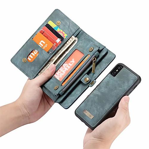 CaseMe Кейс для Назначение Apple iPhone X Кошелек / Бумажник для карт / Флип Чехол Однотонный Твердый Кожа PU для iPhone X / iPhone 8 Pluss / iPhone 8 фото