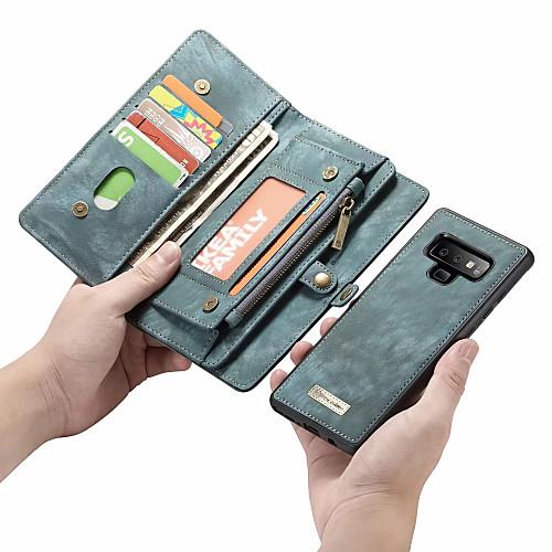 CaseMe Кейс для Назначение SSamsung Galaxy Note 9 / Note 8 Кошелек / Бумажник для карт / Флип Чехол Однотонный Твердый Кожа PU для Note 9 / Note 8