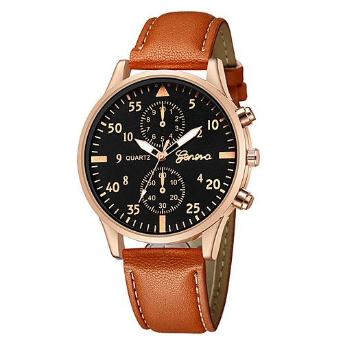 Men's Wrist Watch Quartz Leather Black / Blue / Brown Chronograph Cute Casual Watch Analog Bangle Minimalist - Black / White Rose Gold / White Black / Rose Gold One Year Battery Life / Large Dial