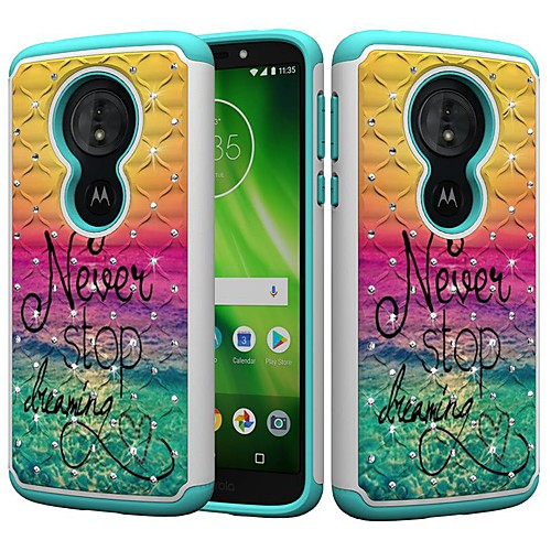 Кейс для Назначение Motorola MOTO G6 / Moto G6 Play Защита от удара / Стразы / С узором Кейс на заднюю панель Слова / выражения / Стразы Твердый ПК для MOTO G6 / Moto G6 Play / Moto E5 Play фото